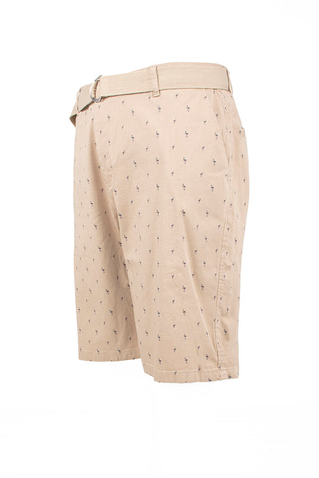 Flamingo Printed Monogram Chino Shorts - Khaki