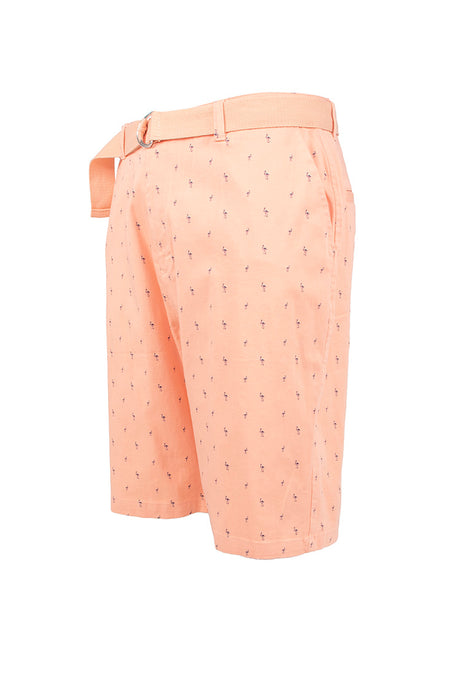 Flamingo Printed Monogram Chino Shorts - Salmon
