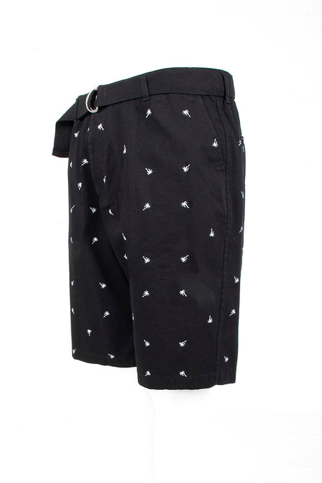 Palm Tree Printed Monogram Chino Shorts - Black