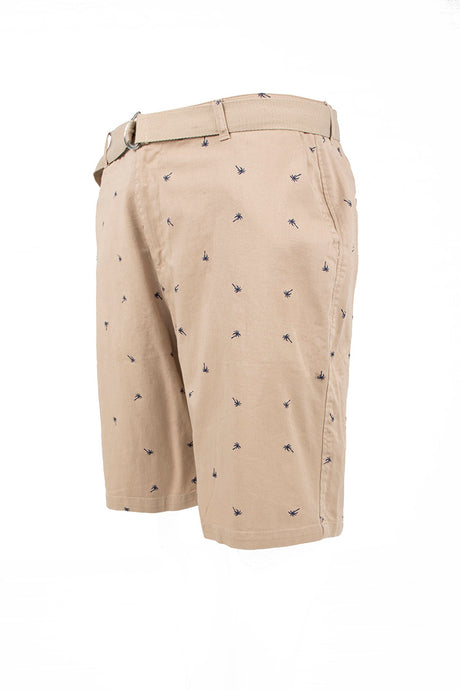 Palm Tree Printed Monogram Chino Shorts - Khaki