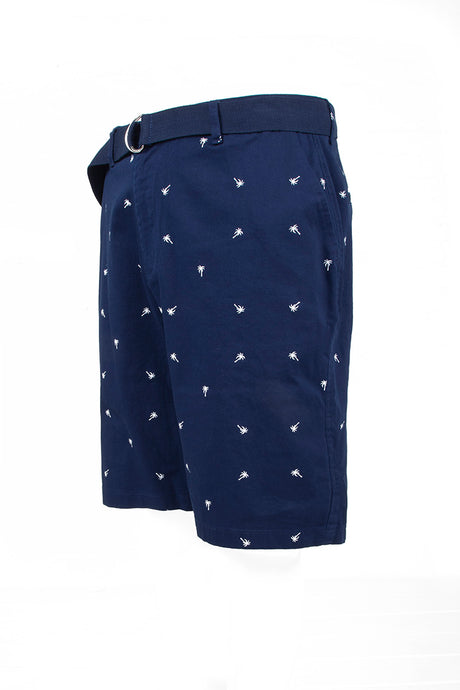 Palm Tree Printed Monogram Chino Shorts - Navy