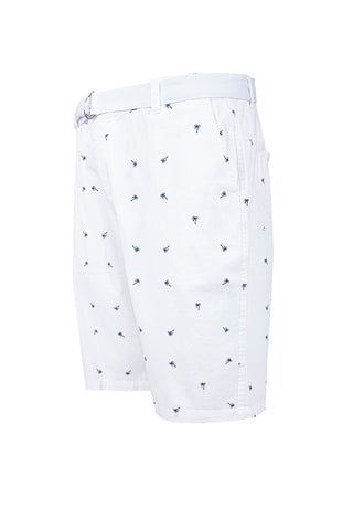Palm Tree Printed Monogram Chino Shorts - White