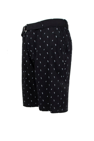 Flamingo Monogram Printed Chino Shorts - Black