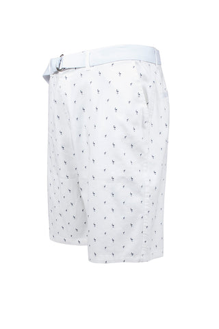 Flamingo Printed Monogram Chino Shorts - White
