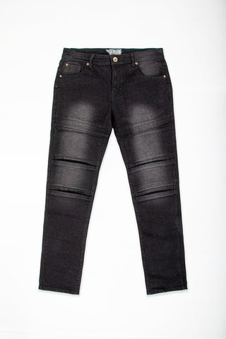 Cut & Sew Panel Jeans - Black