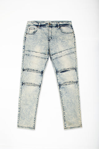 Cut & Sew Panel Jeans - Natural Blue
