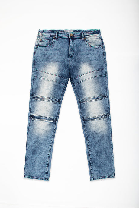 Cut & Sew Panel Jeans - Sand Blast Blue