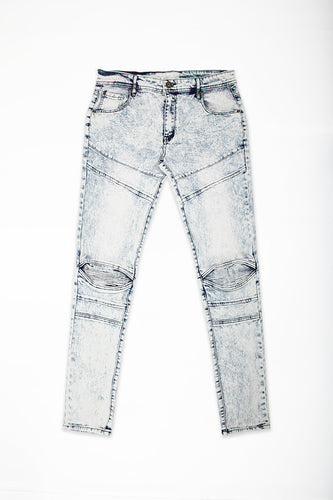 Cut & Sew Jeans with Moto Knee Insert - Bleach Blue