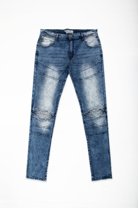 Cut & Sew Jeans with Moto Knee Insert - Dark Blue