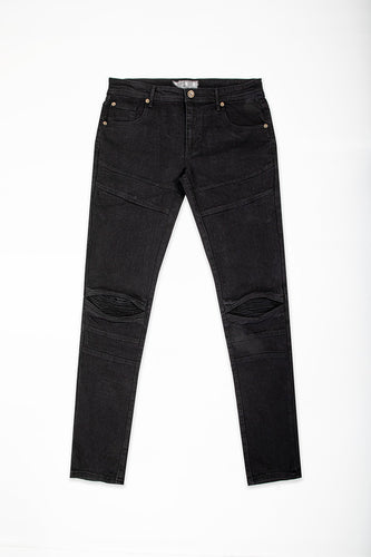 Cut & Sew Jeans with Moto Knee - Jet Black
