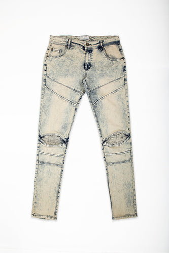 Cut & Sew Jeans with Moto Knee Insert - Natural Blue