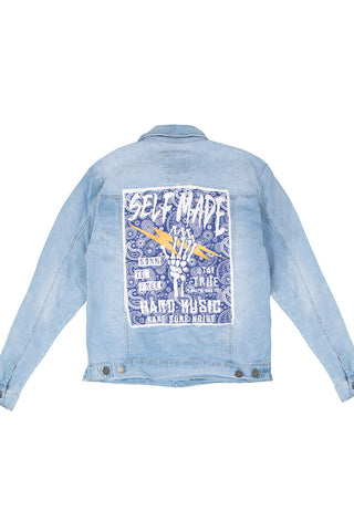 Denim Jacket with Paisley Canvas Patch - Light Blue