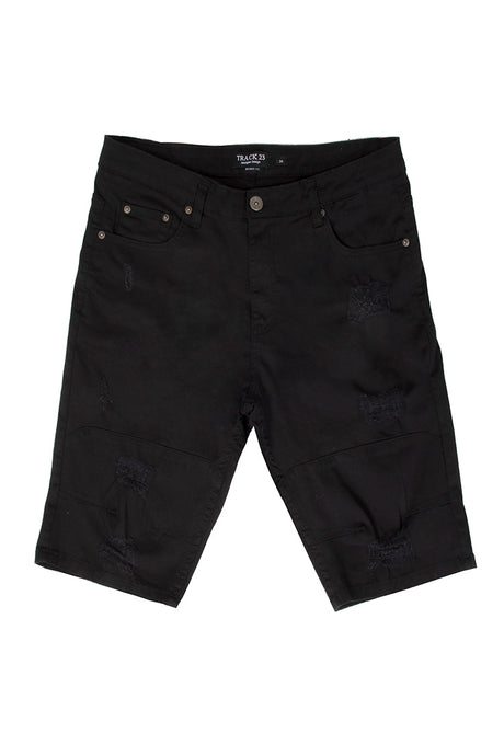 Rip & Tear Denim Shorts - Jet Black