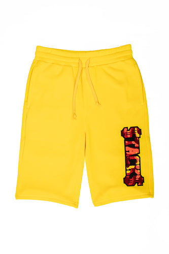 Stacks Embroidered Fleece Shorts - Yellow