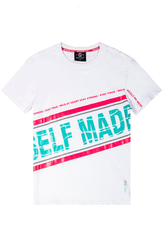 Self Made Gel and Reflective Print T-Shirt - White