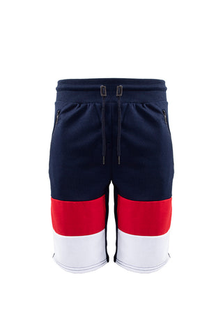 French Terry Colorblock Short - Navy