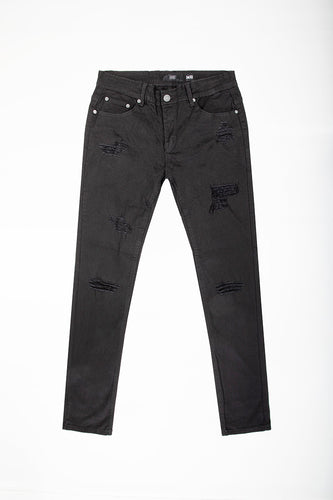 Heavily Destructed Twill Jeans- Jet Black