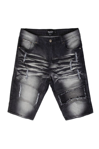 Destructed Denim Shorts - Black Sandblast