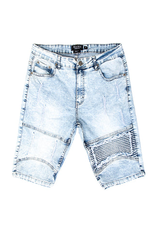 Destructed Moto Denim Shorts - Ice Blue
