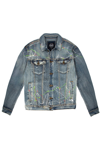 Denim Jacket with Paint Splatter - Vintage
