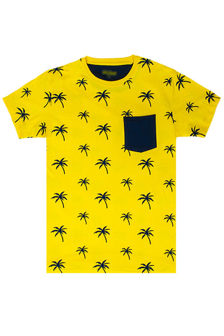 Palm Tree Printed Monogram T-Shirt - Gold/Navy