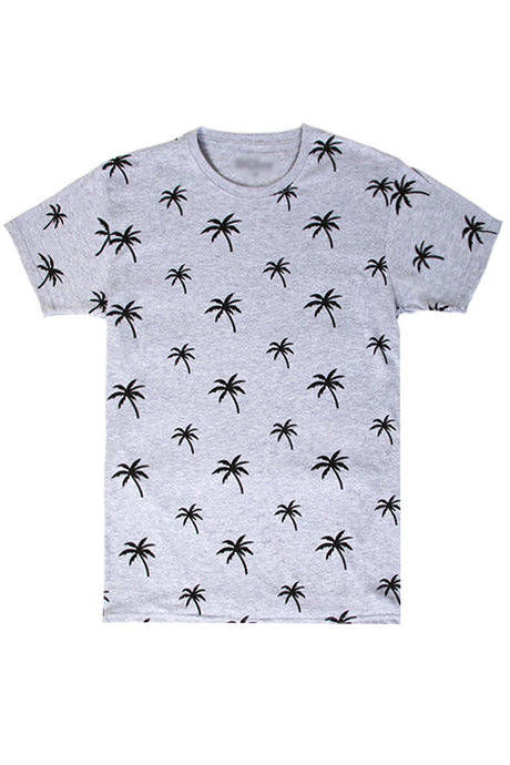 Palm Tree Printed Monogram T-Shirt - Heather Grey
