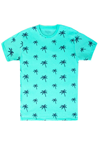 Palm Tree Printed Monogram T-Shirt - Mint/Navy