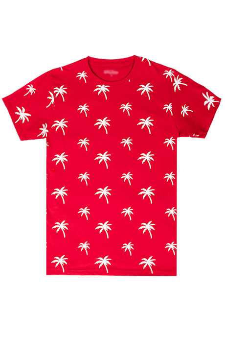 Palm Tree Printed Monogram T-Shirt - Red