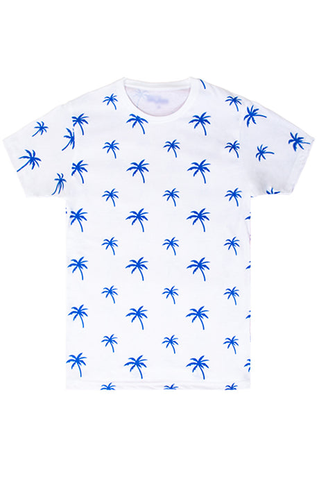 Palm Tree Printed Monogram T-Shirt - White/Royal