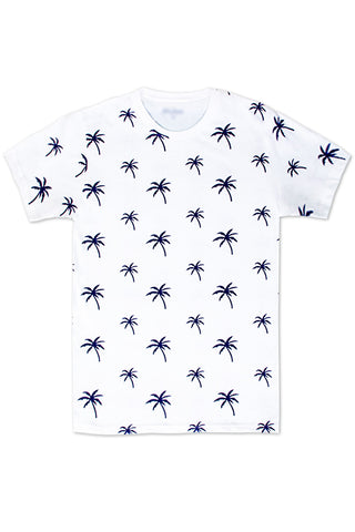 Palm Tree Printed Monogram T-Shirt - White/Navy