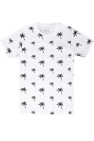 Palm Tree Printed Monogram T-Shirt - White/Black