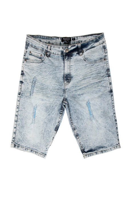 Rip & Tear Denim Shorts - Ice Blue