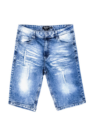 Rip & Tear Denim Shorts - Medium Indigo