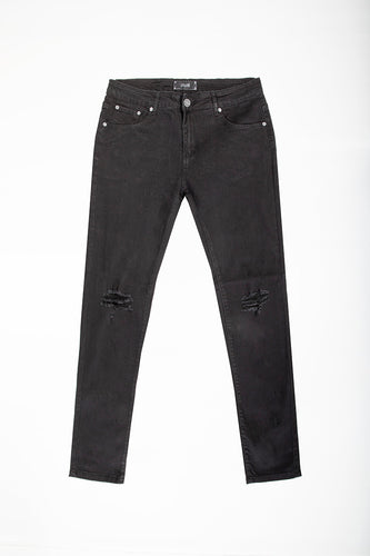 Skinny Jeans with Blow-Out Knee - Jet Black