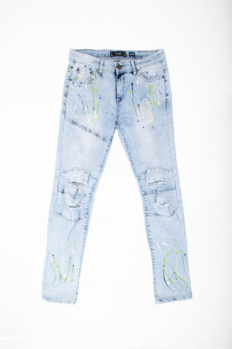 Skinny Jeans with Paint Splatter - Ice