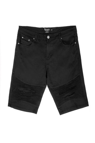 Stretch Twill Moto Shorts - Black
