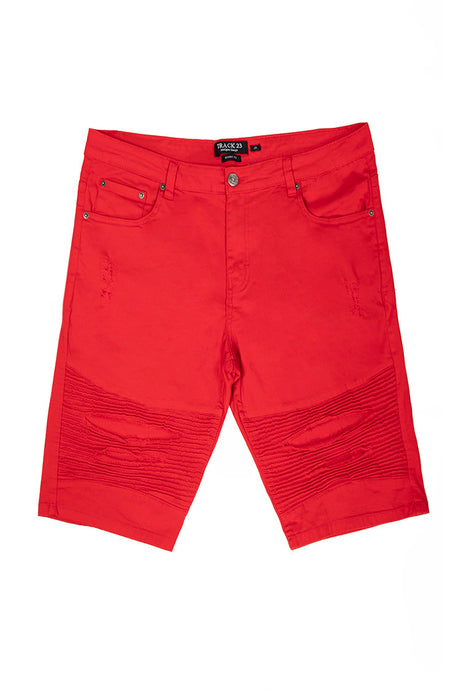 Stretch Twill Moto Shorts - Red