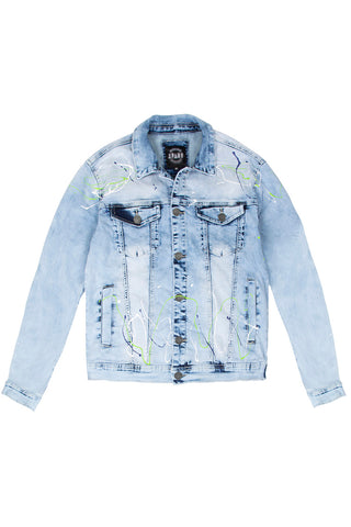 Denim Jacket with Paint Splatter - Ice