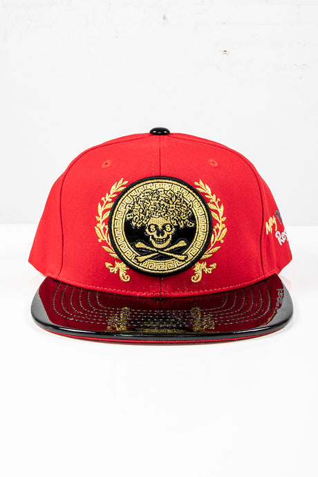 Snap Back Hat - Gold Crossbones - Red