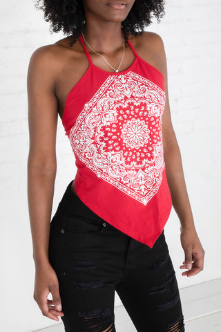 Paisley Print Halter Top - Red