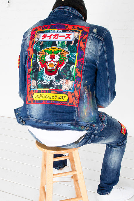 Denim Jacket with Print and Embroidery - Indigo