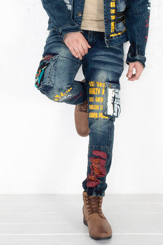 Jeans with Print and Chenille Patch - Indigo