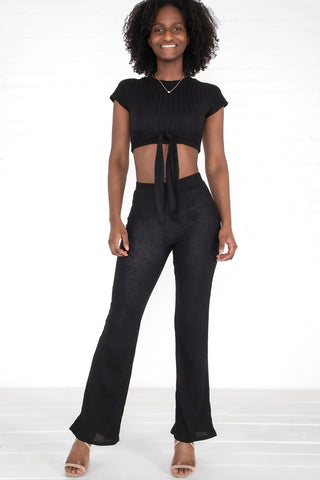 Ribbed Crop Tie-Front Set - Black