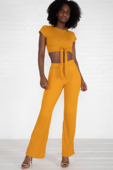 Ribbed Crop Tie-Front Set - Mustard