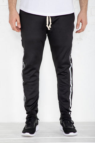 Track Pants with Reflective Tape - Black