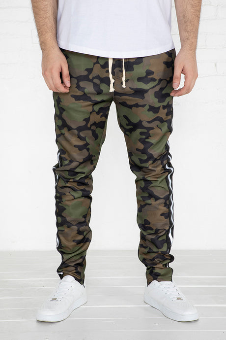 Track Pants with Reflective Tape - Camo