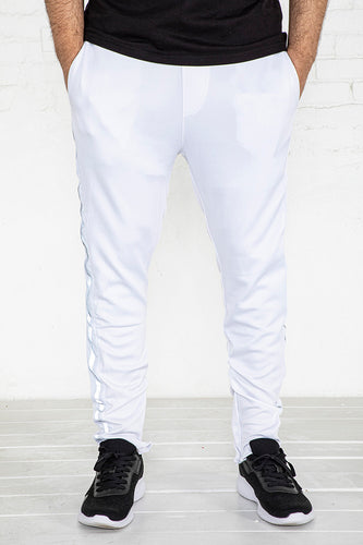 Track Pants With Reflective Tape - White