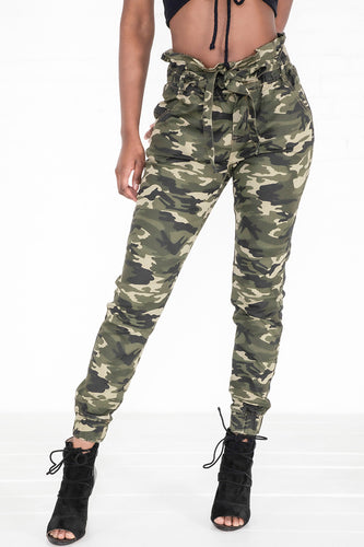 Belted Paper Jogger Pants - Camo