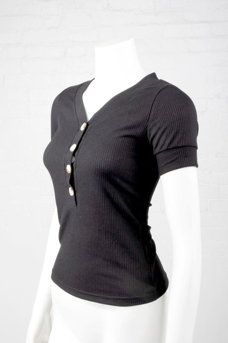 Ribbed V-Neck Top With Buttons - Black