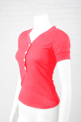 Ribbed V-Neck Top With Buttons - Fuschia